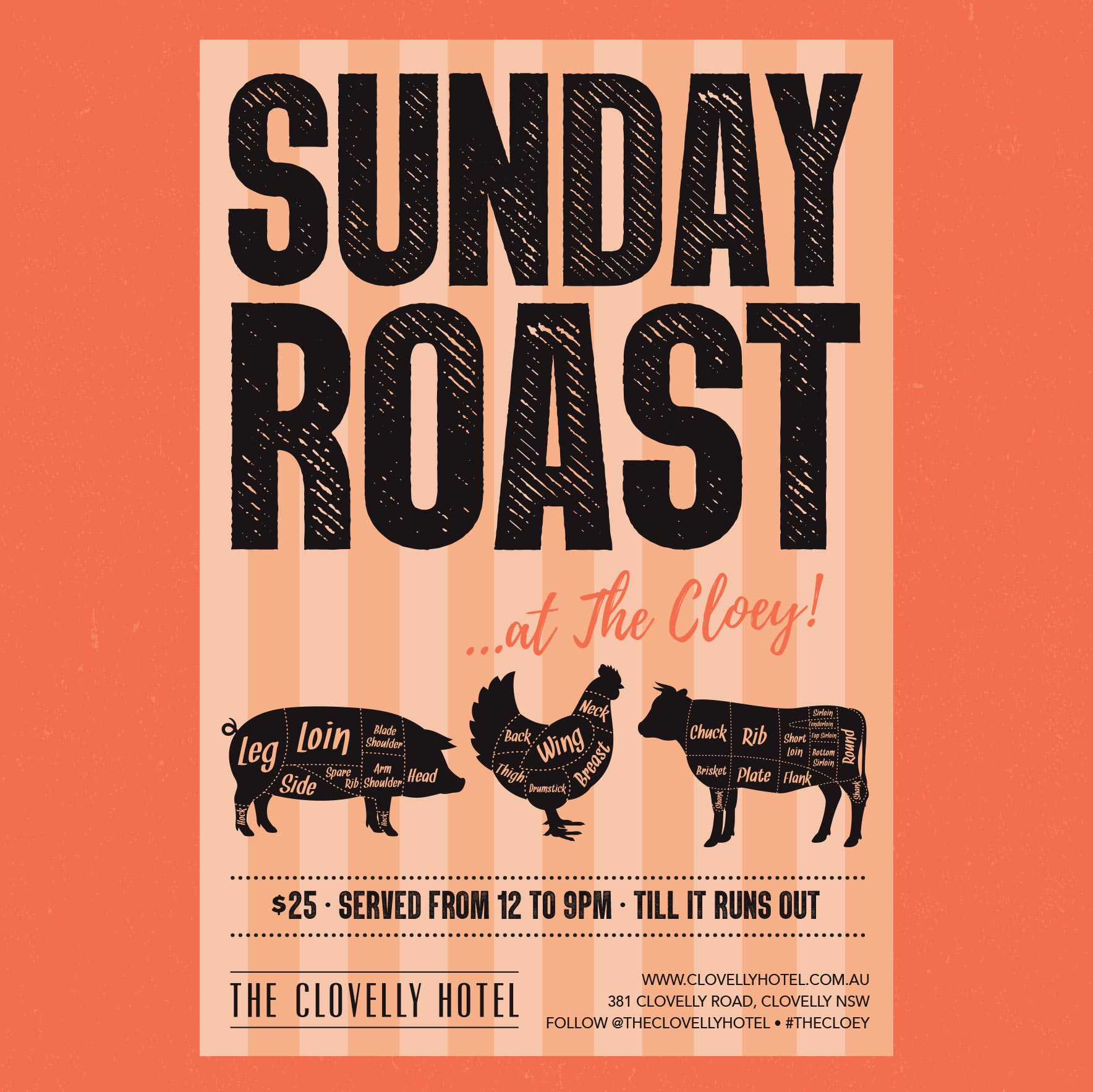 $25 roast served from 12-9pm