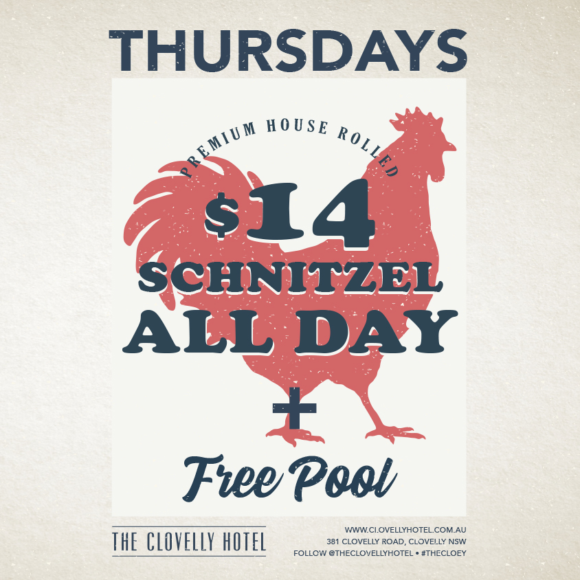 Thursday $14 Schnitzel - All Day at the Cloey