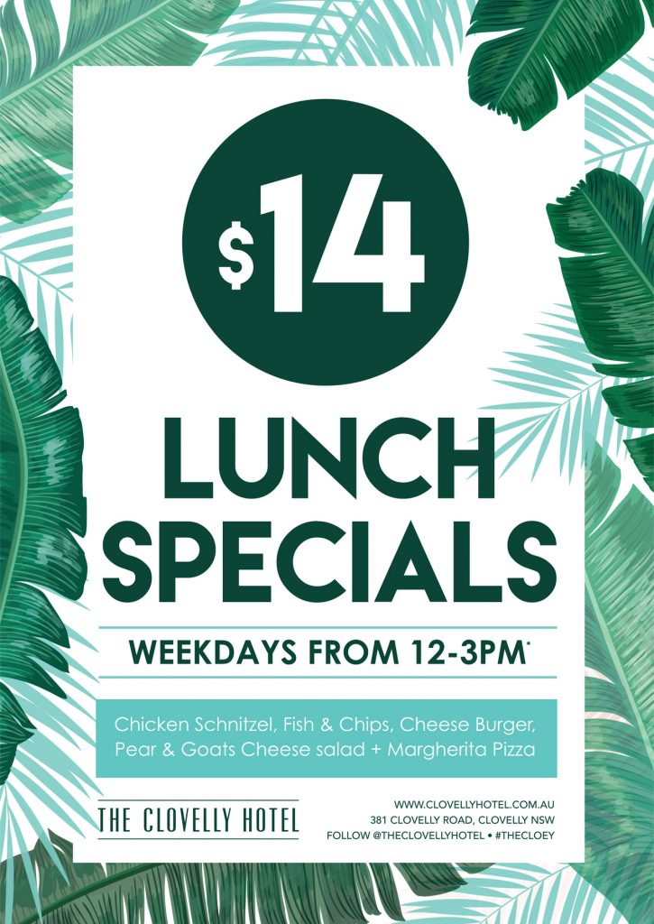 lunch specials at Clovelly Hotel