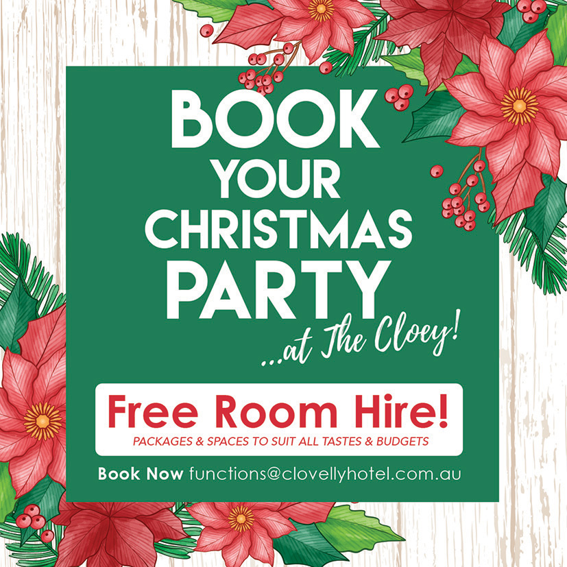 Book your Christmas Party at the Cloey - Free Room Hire
