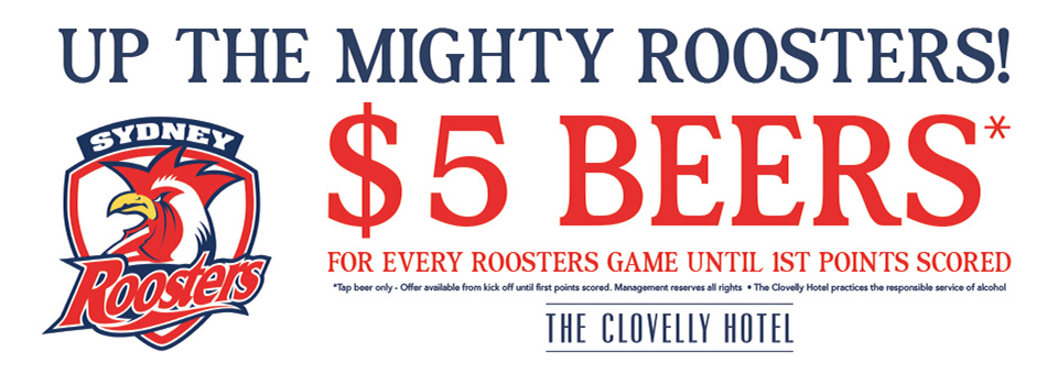 Roosters $5 Beers at the Cloey